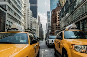 Yellow cabs in one of the numerous traffic jams which are one of the challenges of living in NYC.