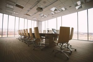 A conference room which requires additional moving services to consider when moving.