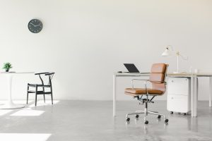 A minimalist office space.