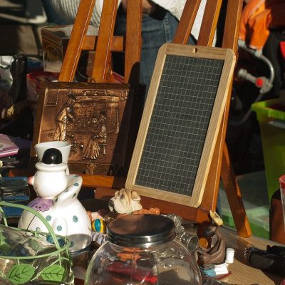 Various items displayed in a proper way when you organize a profitable garage sale.