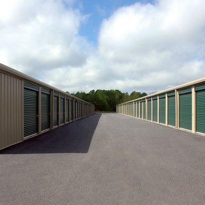 A row of storage lockers.