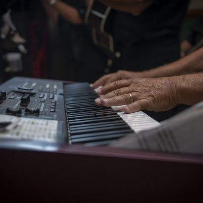 A person playing the piano.